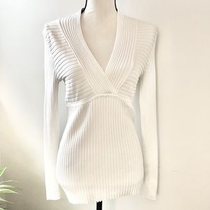 INC International Concepts White Ribbed Sweater XL